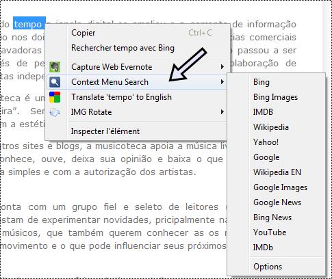 context menu (menu contextuel)